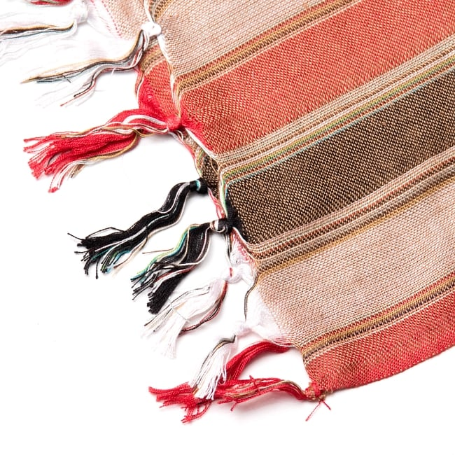 インドの伝統布ルンギーのボーダーストール〔200cm×97cm〕ブラウン×オレンジ 4 - 縁の写真です