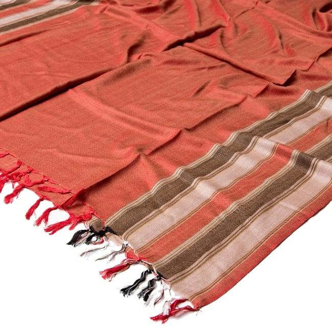 インドの伝統布ルンギーのボーダーストール〔200cm×97cm〕ブラウン×オレンジ 5 - 使い勝手の良い大判タイプです