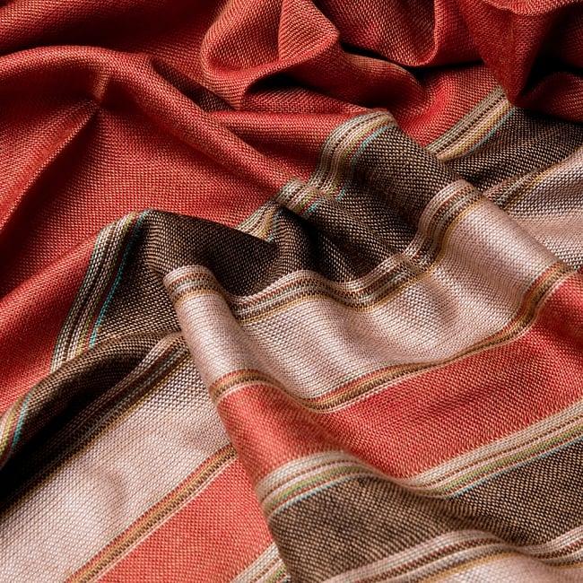 インドの伝統布ルンギーのボーダーストール〔200cm×97cm〕ブラウン×オレンジ 6 - 色彩のインドらしく、綺麗な布です
