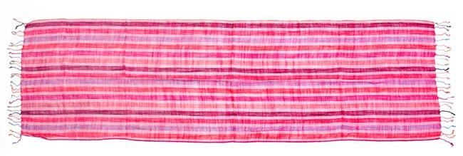 カラフルストライプスカーフ - ピンク系の写真2 - 床に置いたところです