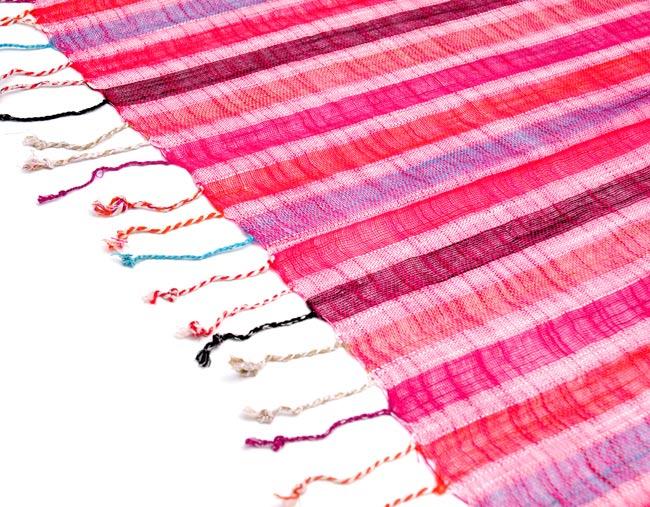 カラフルストライプスカーフ - ピンク系の写真4 - フリンジ部分はこんな感じです