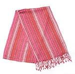 インドとアジアの布のセール品:[夏のセール]カラフルストライプスカーフ - エンジ系