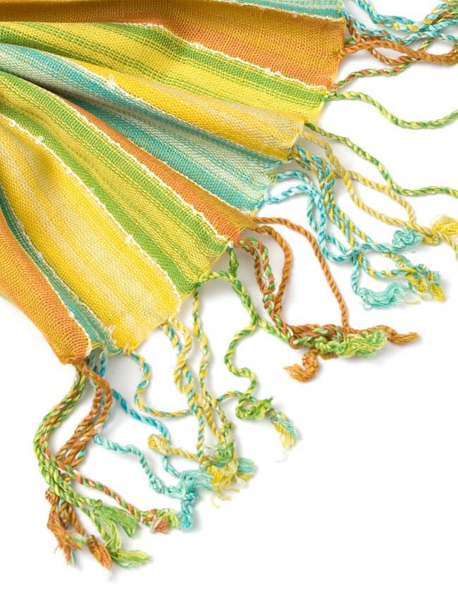 カラフルストライプスカーフ - 黄緑系 4 - フリンジ部分はこんな感じです