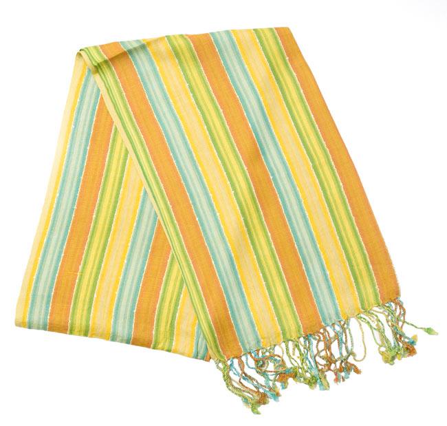 カラフルストライプスカーフ - 黄緑系の写真