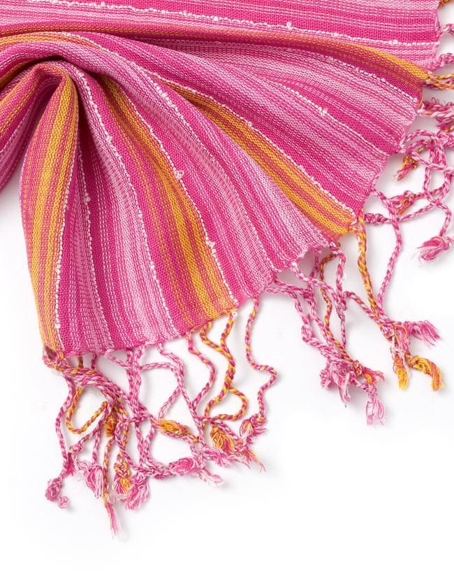 カラフルストライプスカーフ - 黄ピンク系 4 - フリンジ部分はこんな感じです