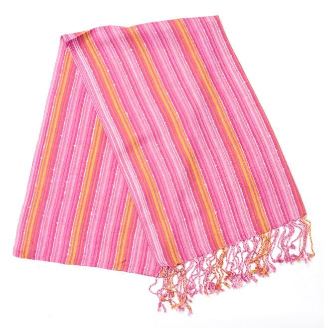 カラフルストライプスカーフ - 黄ピンク系の写真