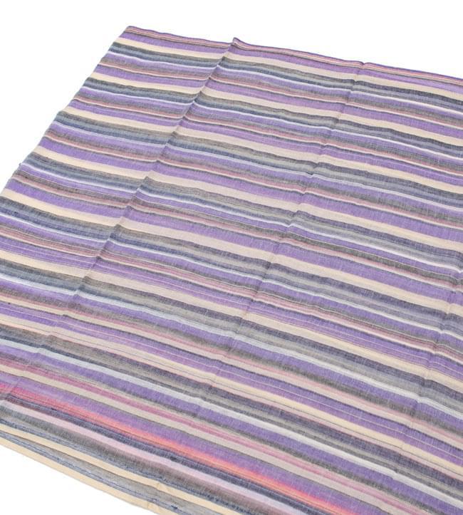 カラフルストライプスカーフ - 薄紫系 2 - あえてかすれた感じのストライプ模様になっています。