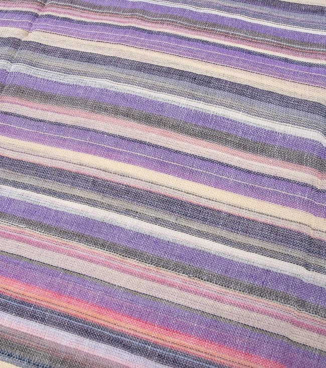 カラフルストライプスカーフ - 薄紫系 3 - 生地を拡大してみました。