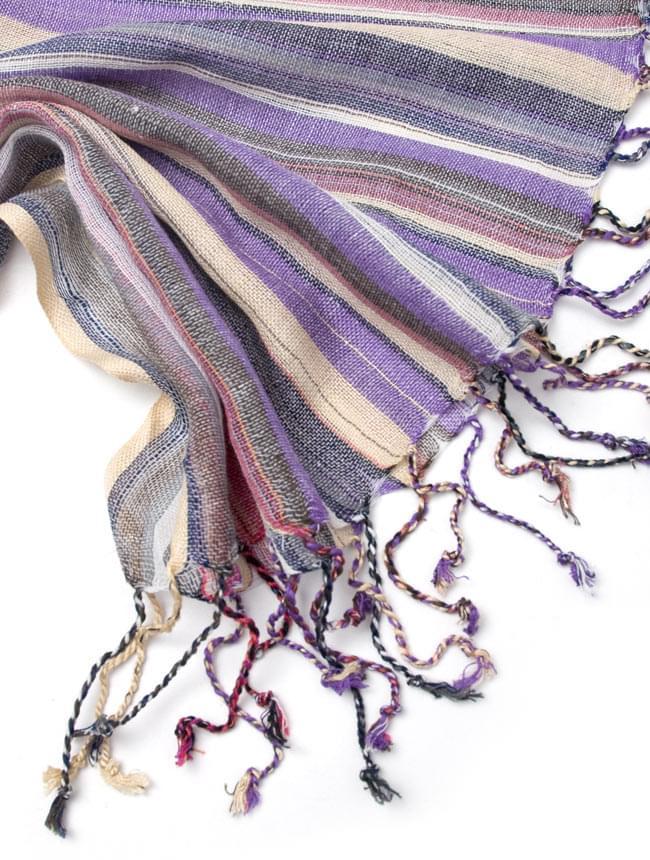カラフルストライプスカーフ - 薄紫系 4 - フリンジ部分はこんな感じです。