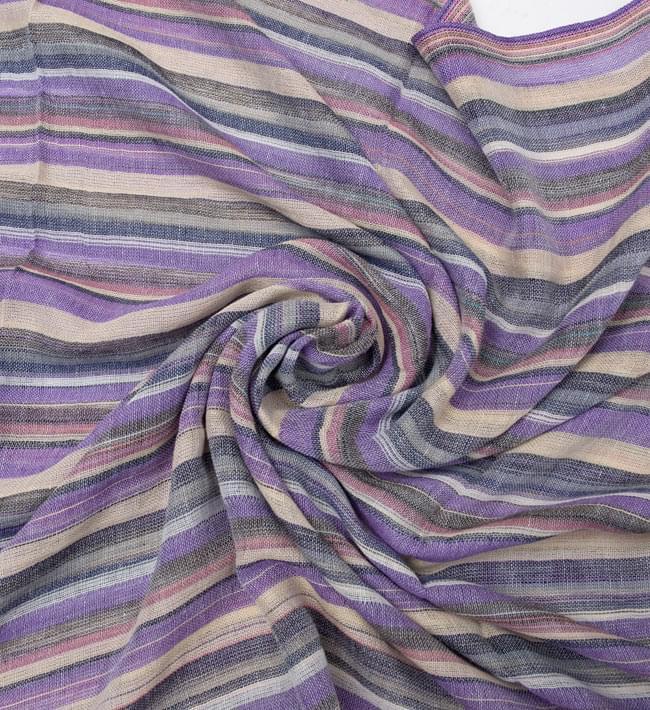 カラフルストライプスカーフ - 薄紫系 5 - クシュッとしてみました。