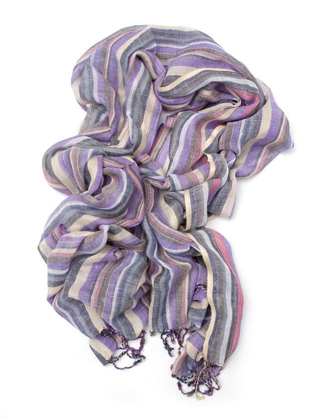 カラフルストライプスカーフ - 薄紫系の写真