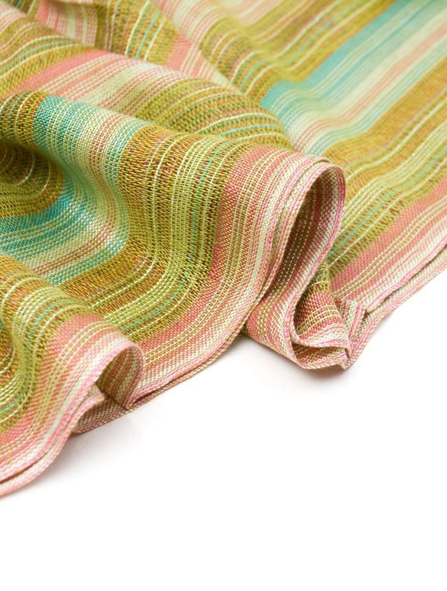 カラフルストライプスカーフ - 緑系 3 - とても柔らかいビスコース素材です。