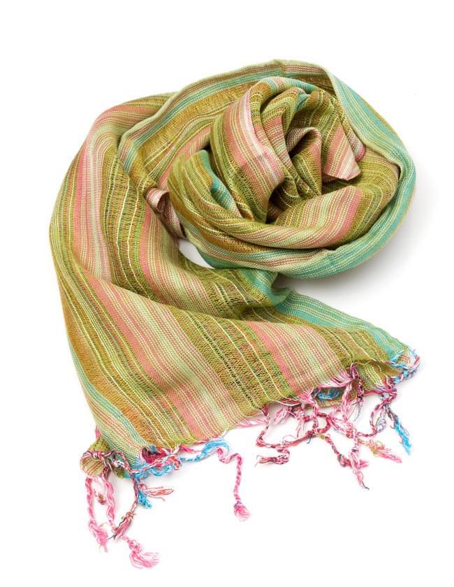 カラフルストライプスカーフ - 緑系の写真