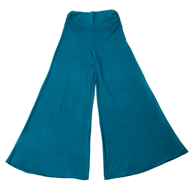 病みつきの履き心地!ロング ガウチョ パンツ 12 - 選択3:ブルーグリーン