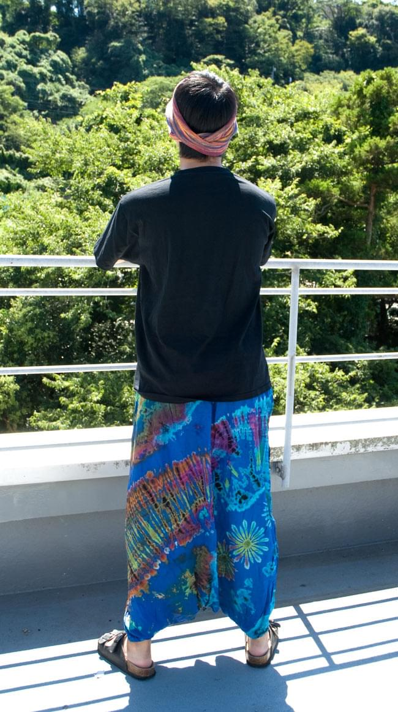 タイダイレーヨンダンサーパンツ 【水色】の写真3 - 後ろ姿です。