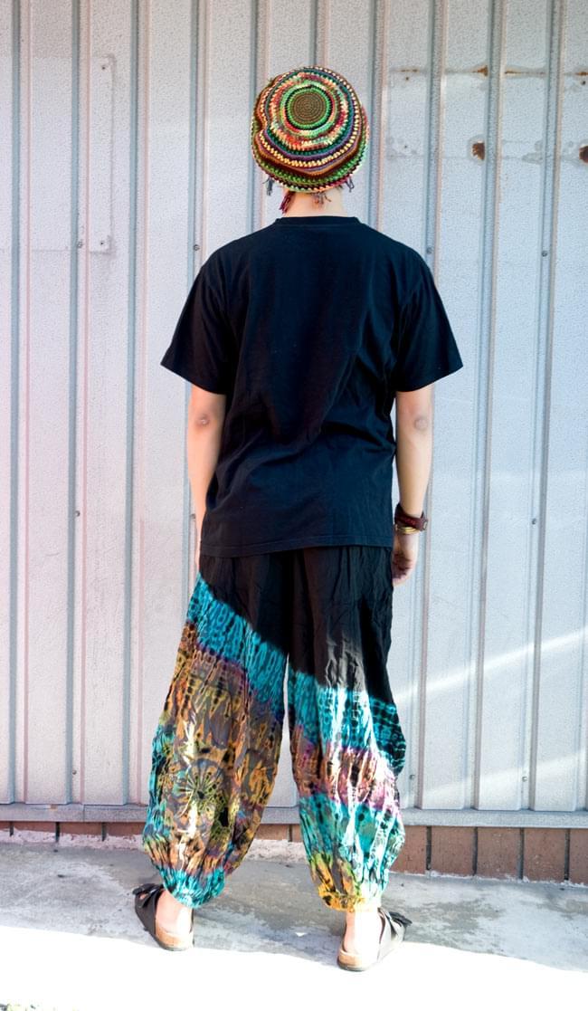 タイダイレーヨンアラジンパンツ 【黒×グレー】の写真3 - 後ろ姿です。