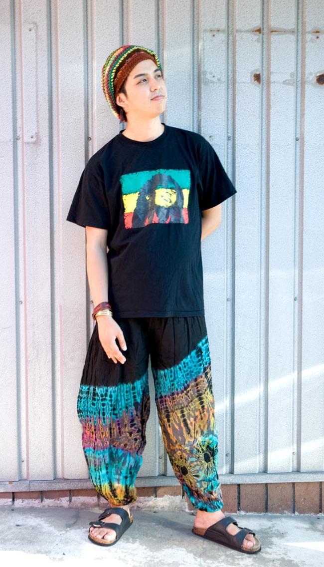 タイダイレーヨンアラジンパンツ 【黒×グレー】の写真