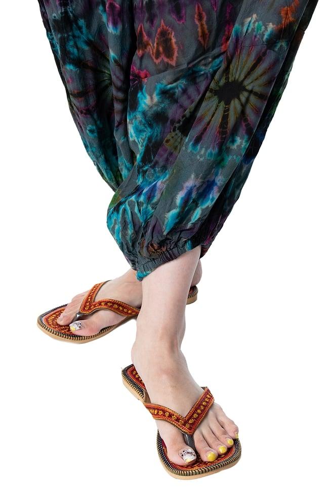 タイダイレーヨンアラジンパンツ 11 - 足元もゴム式なのでずれにくく脚さばきがとっても楽ちんですね。