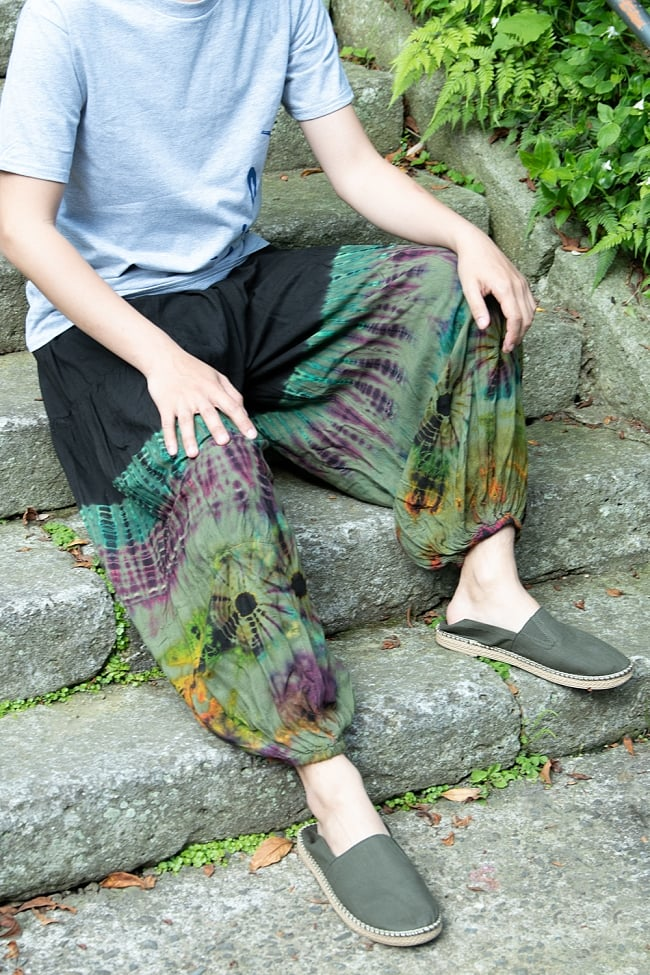 タイダイレーヨンアラジンパンツ 12 - グリーン