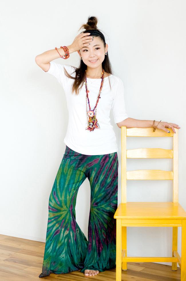 タイダイロングガウチョパンツ 【グリーン系】の写真