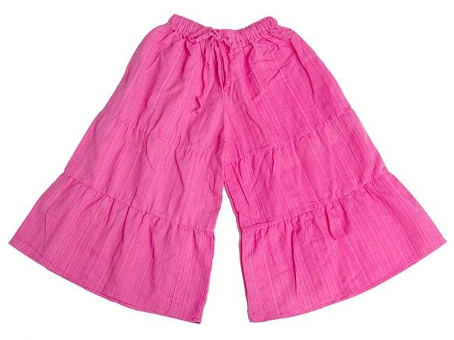 コットン素材のティアードフレアパンツ【ミディアム丈】 8 - 2:ピンク