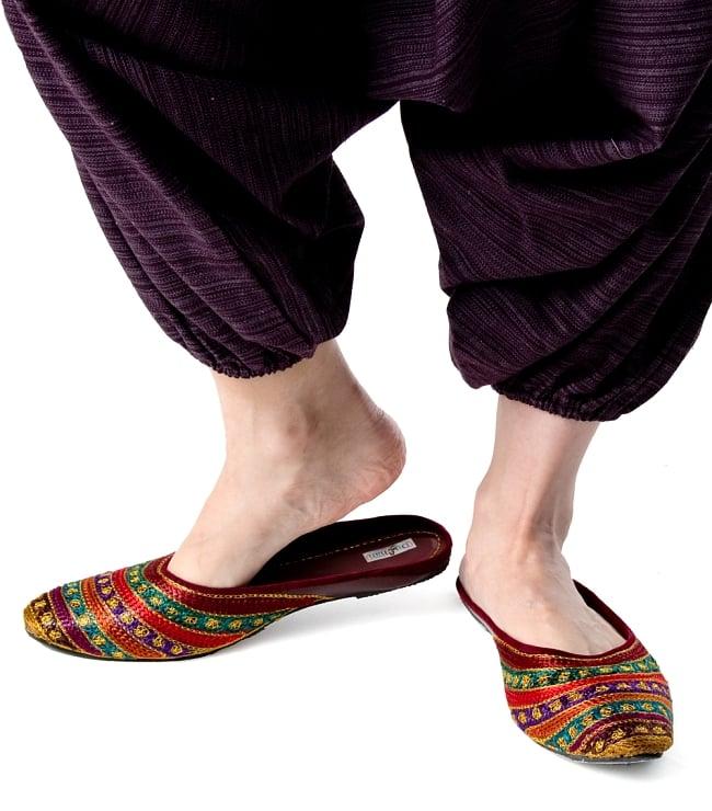 ストライプ織りのコットンモモンガパンツ 7 - 足首にはゴムが通っているので、キュッと絞れて引きずる心配もありません。