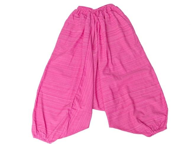 ストライプ織りのコットンモモンガパンツ 9 - 選択2:ピンク