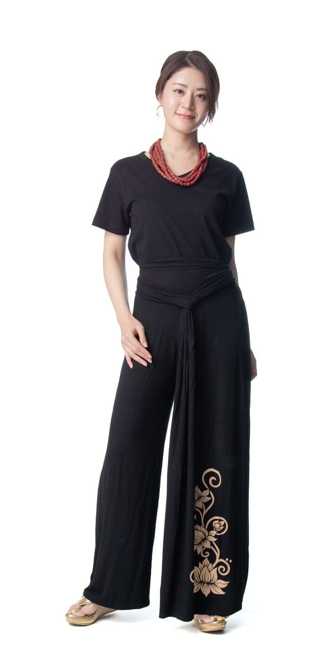 ロータスプリントの ウエストレイヤー ワイドパンツ 8 - 身長165cmのモデルさん着用例です。