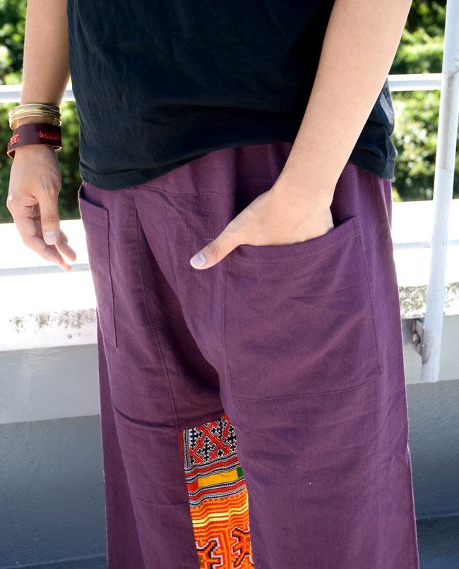 モン族刺繍のタイパンツ 【えんじ】の写真5 - 両サイドにあるポケットが嬉しいですね。
