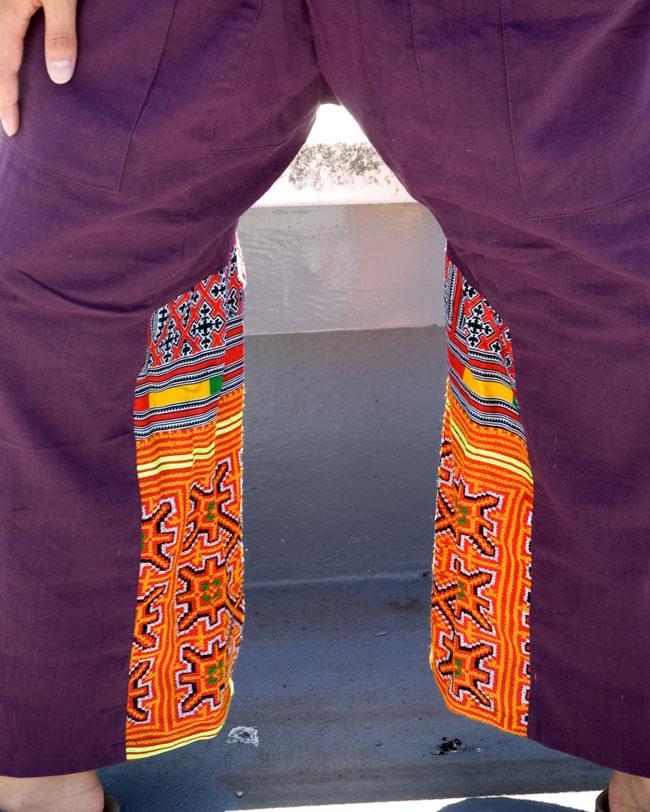 モン族刺繍のタイパンツ 【えんじ】の写真6 - さり気なくあるモン族刺繍が目を引きます。