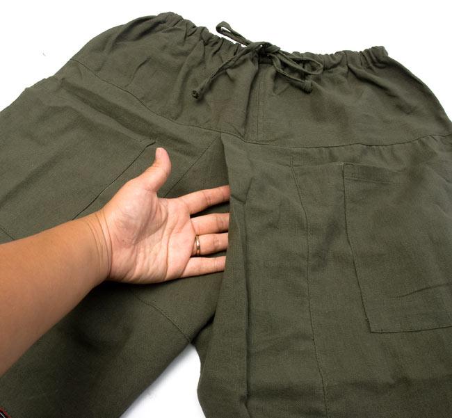 モン族刺繍のタイパンツ 【えんじ】の写真7 - 股の部分が交差したデザインです。