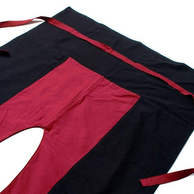 バイカラーのコットンタイパンツ-ロング - 【ブラック・えんじ】の写真2 - しっかりした縫製なのでとても丈夫です。
