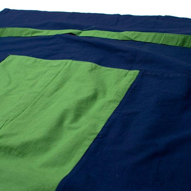バイカラーのコットンタイパンツ-ショート - 【ネイビー・グリーン】の写真2 - しっかりした縫製なのでとても丈夫です。