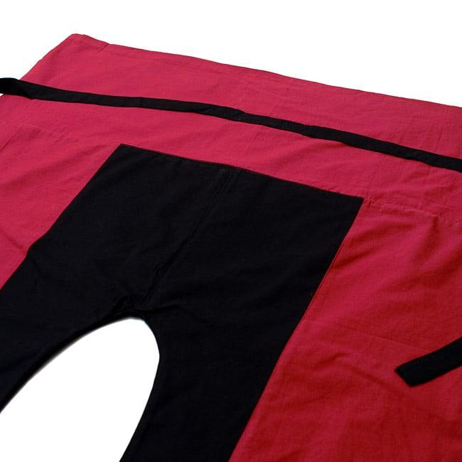 バイカラーのコットンタイパンツ-ショート - 【えんじ・ブラック】 2 - しっかりした縫製なのでとても丈夫です。