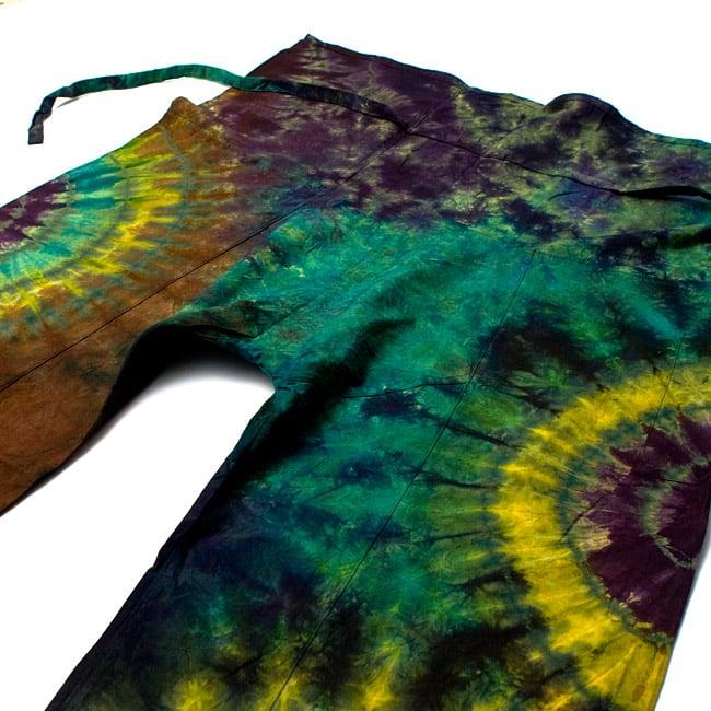 タイダイコットンタイパンツ 【ロング】 グリーン×パープル系の写真2 - しっかり作られているのでがんがん着れますよ。