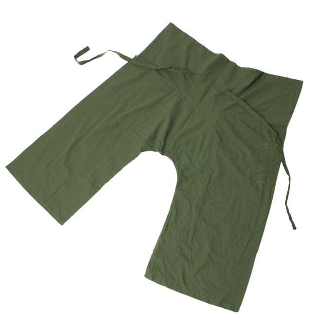 シンプルコットンタイパンツ 【濃緑 - ハスの模様入り】の写真6 - 裏面はシンプルです。