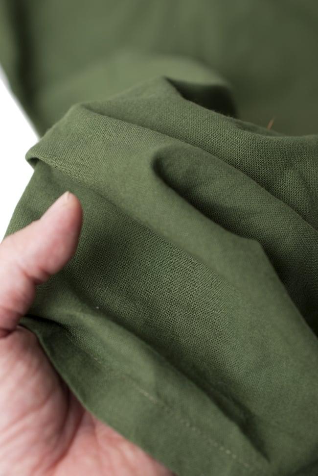 シンプルコットンタイパンツ 【濃緑 - ハスの模様入り】の写真7 - 肌触りの良いコットンが用いられています。