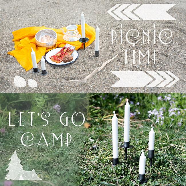 インドのアイアン キャンドル スタンドロング シンプル 6 - ピクニックにもキャンプにも!