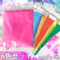 【6色セット】ホーリーの色粉 100gパック