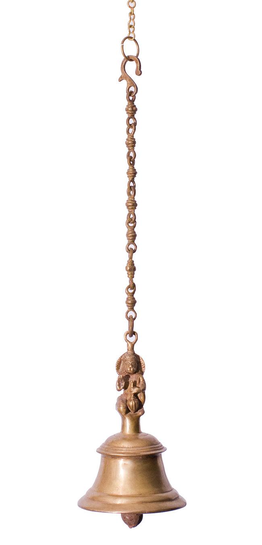 寺院の鐘 - ハヌマーン【一点もの】の写真6 - 全体写真です。鎖を含めて約60cmあります。