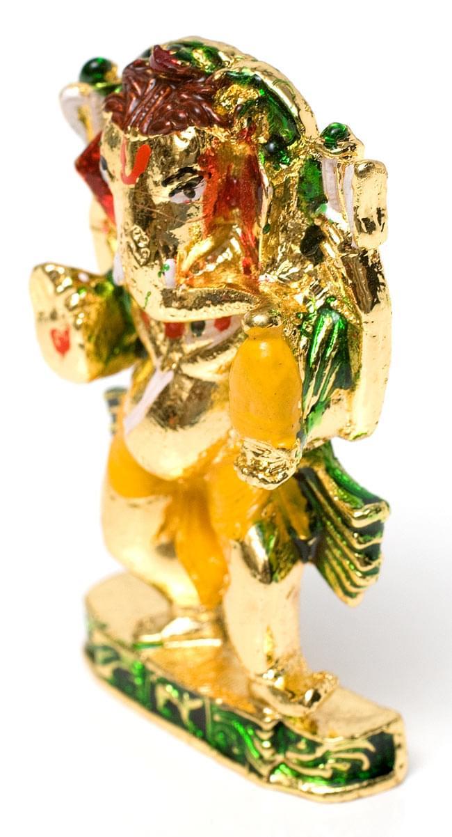 エナメル細工の金色ガネーシャ像(5cm)の写真2 - 右上から見ると目元がよく見えますね