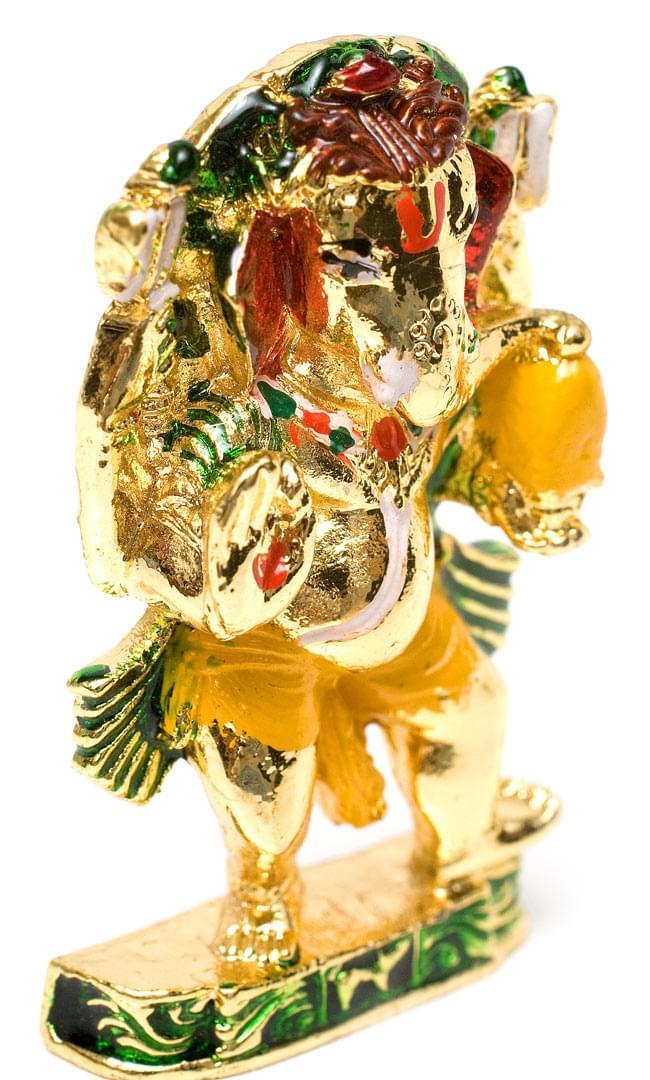 エナメル細工の金色ガネーシャ像(5cm)の写真3 - 左上から見てみました