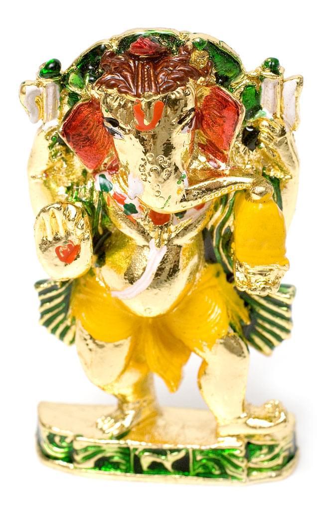 エナメル細工の金色ガネーシャ像(5cm)の写真4 - 胸元にも彩色された首飾りがあったり、なかなか細かいところまで作りこまれていますね