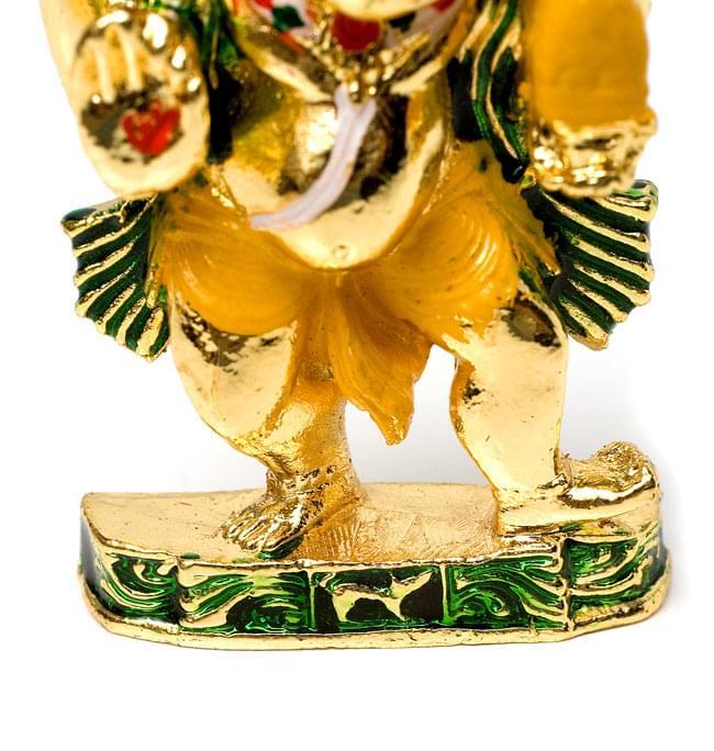 エナメル細工の金色ガネーシャ像(5cm)の写真6 - ちょっと短かめのお足と台座。