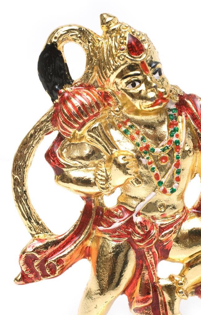 エナメル細工の金色ハヌマーン像(10cm)の写真3 - ダイナミックな造形