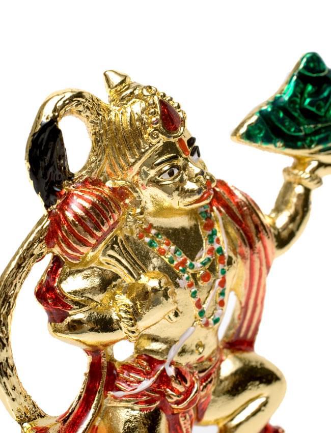 エナメル細工の金色ハヌマーン像(10cm)の写真7 - 少し角度を変えて写してみました