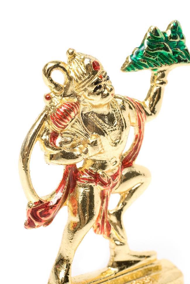 エナメル細工の金色ハヌマーン像(8cm)の写真4 - 躍動感のある姿
