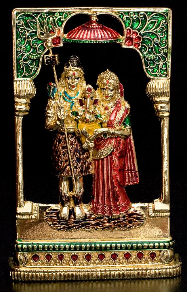 エナメル細工の金色シヴァ・パールヴァティー・ガネーシャ像(11cm)の写真