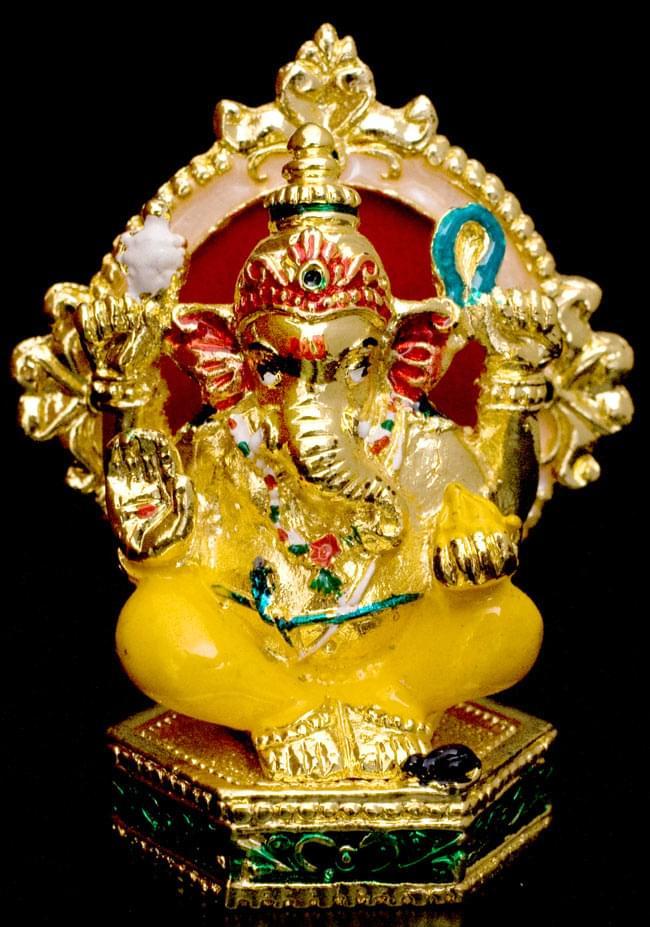 エナメル細工の金色ガネーシャ像(7cm)の写真