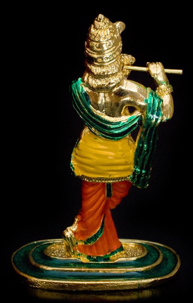 エナメル細工の金色クリシュナ像(8cm)の写真4 - 背後に回ってみました。スマートな立ち姿です